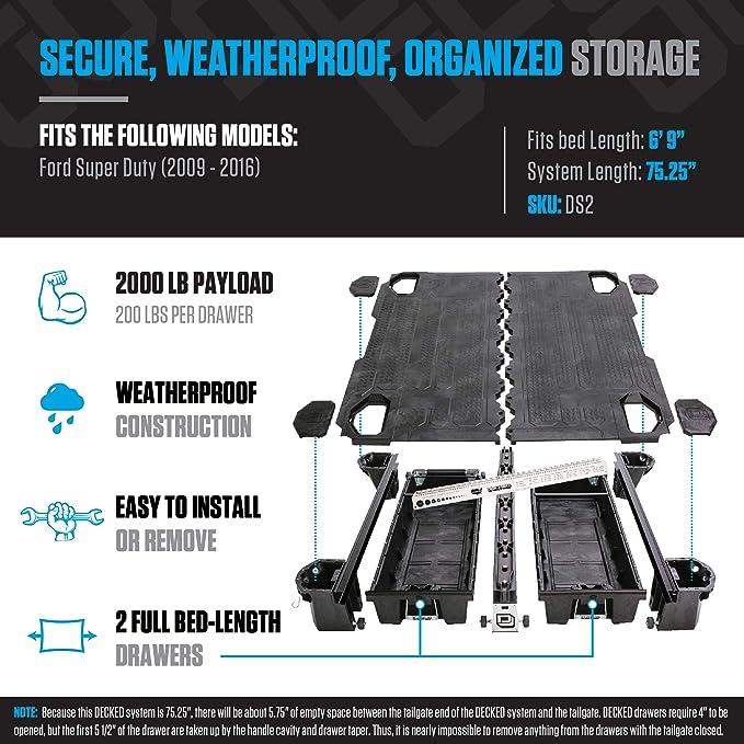 Amazon.com: Sistema de almacenamiento para camioneta Ford ...
