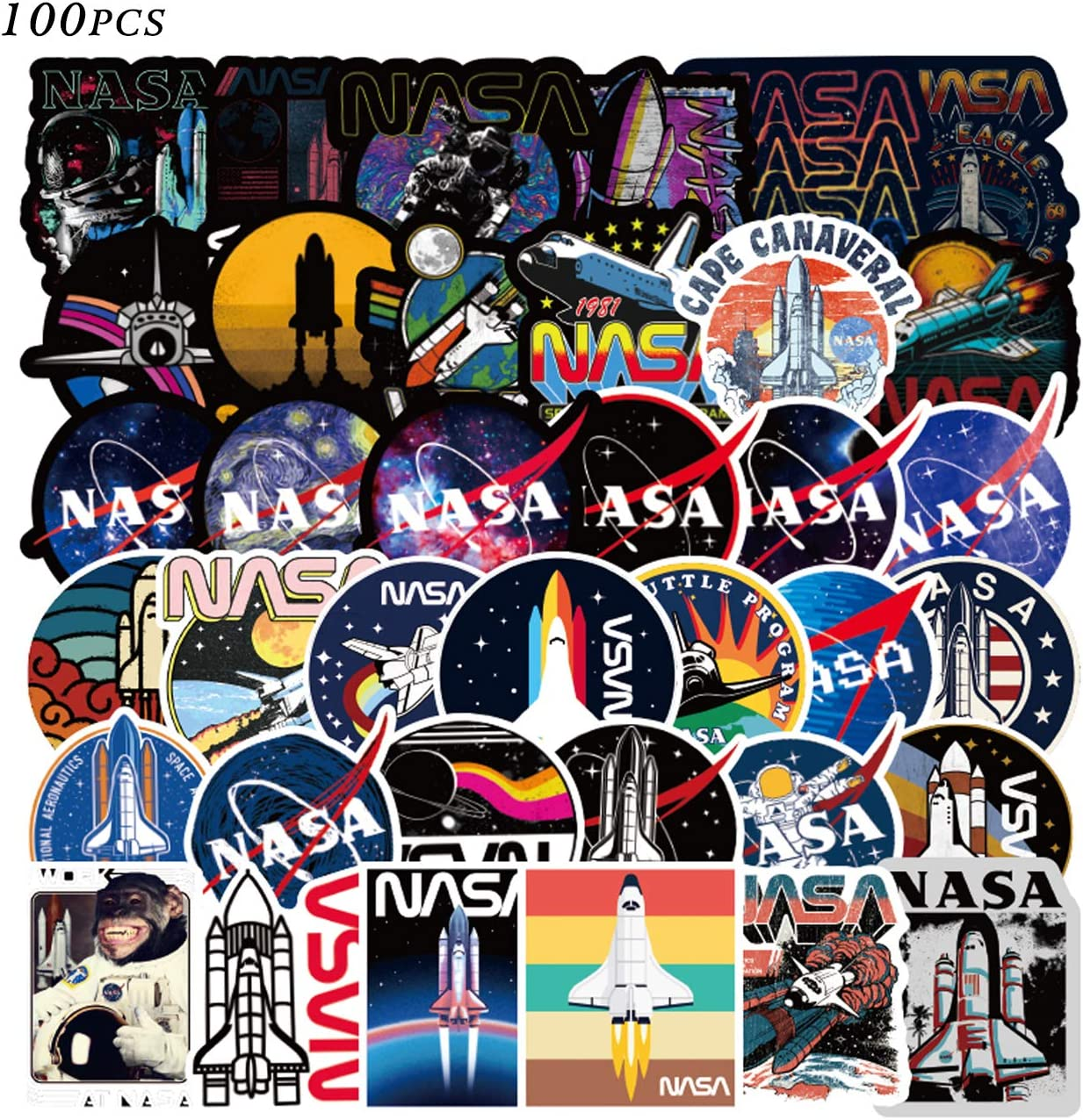 100pcs NASA Sticker Cool Space Astronaut Stickers Packs Laptop Skateboard Sticker Bomb Pack for Adults Teens Kids Skate Water Bottles Waterproof Vinyl Graffiti Stickers Decor Gifts
