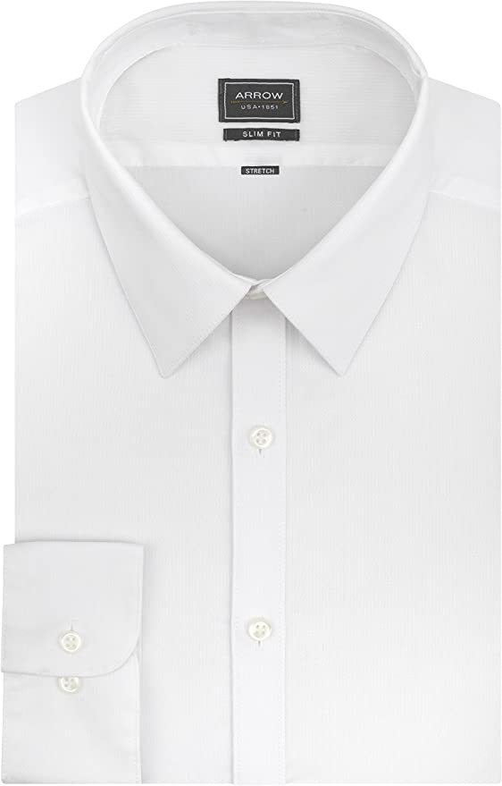 Arrow Mens Stretch Fitted Solid Spread Collar Dress Shirt
