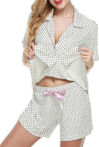 TALLA XS. Modfine Mujer de Verano Ropa de Noche 2 Piezas Camiseta Pijama Corto Set