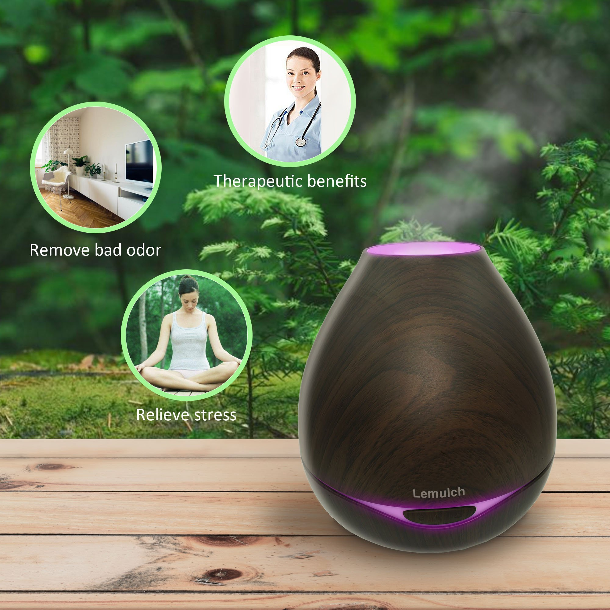 Lemulch Wood Grain 300ml Aromatherapy Diffusers&Cool Mist Humidifier for Dorm Baby Home with Adjustable Mist Mode, Lights Changing, Espresso by Lemulch (Image #2)