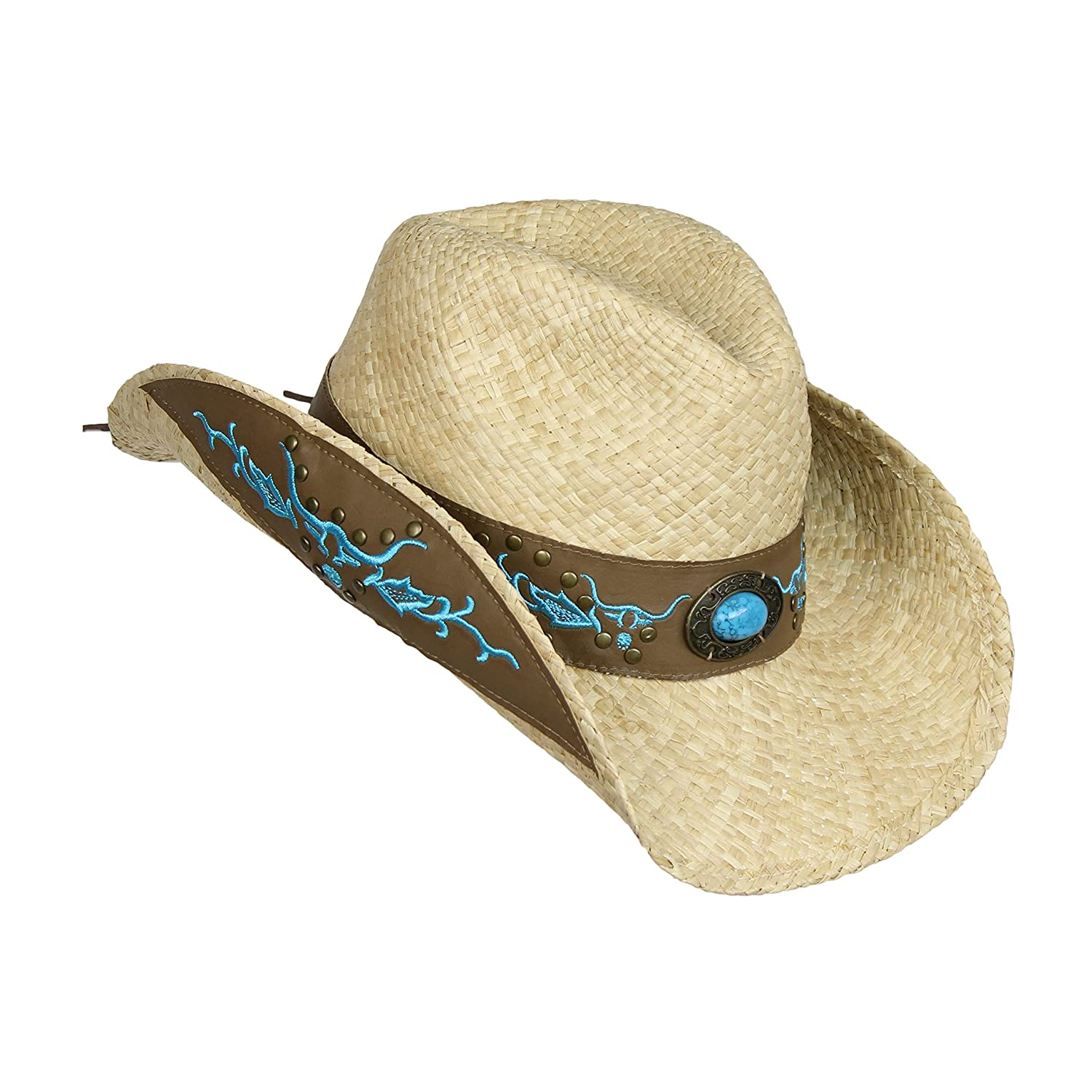 0bb9840de394b9 Straw Cowboy Hat w/ Faux Leather, Teal Bull Design, Turquoise Concho,  Shapeable Brim at Amazon Women's Clothing store: