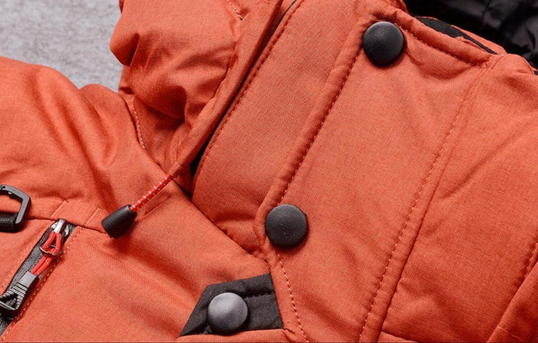 JIINN Homme Classique d'hiver épais Chaud Puffer Duvet Manteaux Col Montant Détachable À Capuche Parka Doudoune Veste Blousons Mens Down Jacket Jk-orange