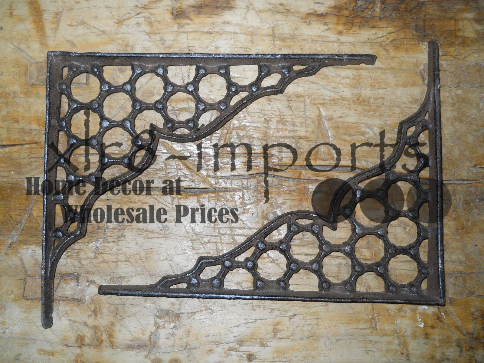 New 7 Cast Iron by YourLuckyDecor Antique Style LARGE RING Brackets, Garden Braces Shelf Bracket by New