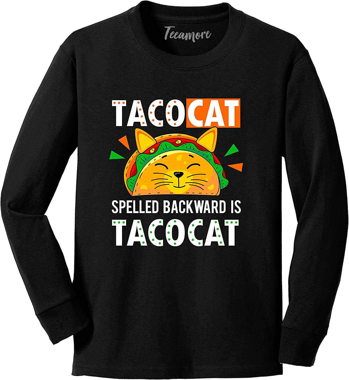 Tacocat Spelled Backwards Taco Cat Shirt Mexican Food Youth Girl Boy Long Sleeve T-Shirt
