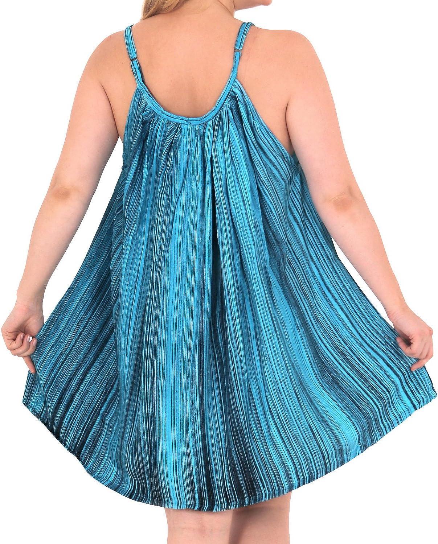 LA LEELA Womens Plus Size Beach Dress Hawaiian Camp Party Loungewear Printed B