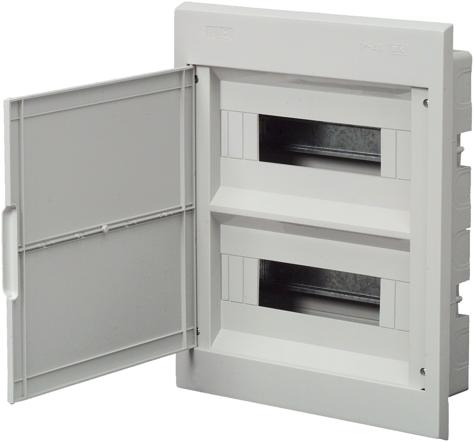 Unitec 40627Small Distribution Board Flush-Mounted with Door 2Rows IP30