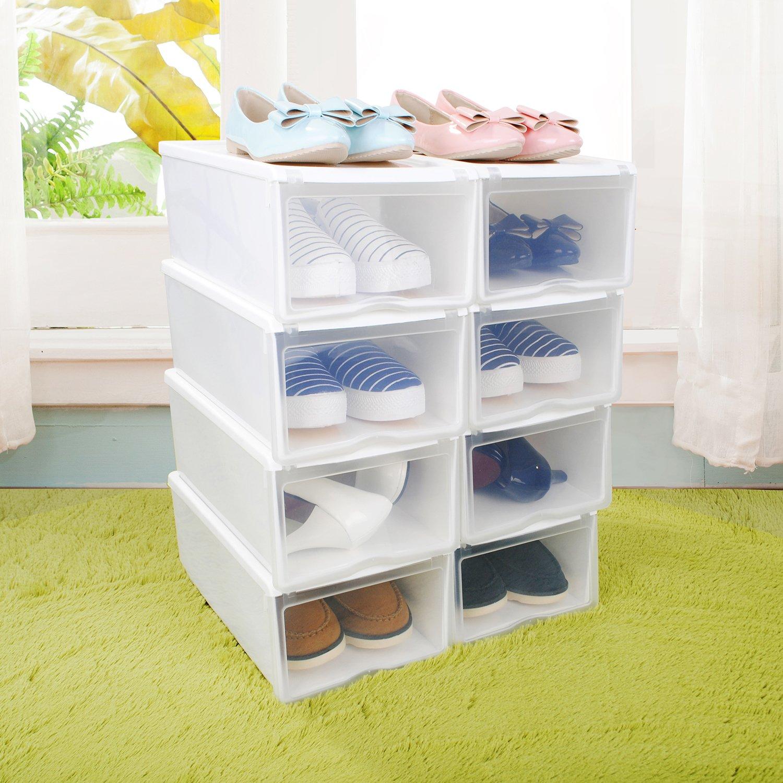 HST Mall Ladies Men Stackable Plastic Shoe Storage Box Organiser with Clear Door Set of 8 33cmx22cmx14cm White Shoe Box