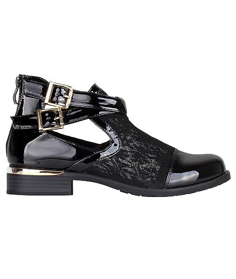 KRISP Botines Mujer Negros Charol Planos Fiesta sin Tacon Zapatos Abiertos: Amazon.es: Zapatos y complementos