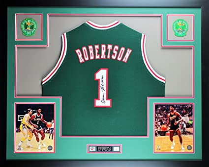 fbee79709 Oscar Robertson Autographed Green Bucks Jersey - Beautifully Matted and  Framed - Hand Signed By Oscar