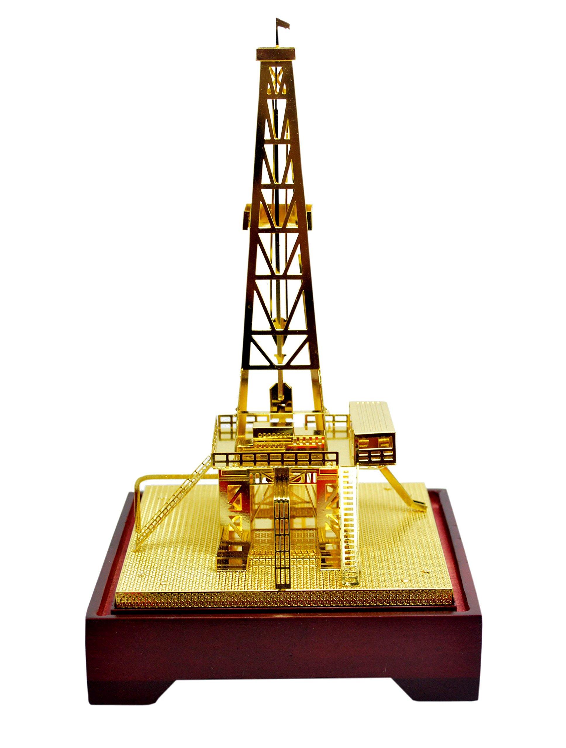 new copper oilfield oil well derrick drill rig gold color model commemorative edition