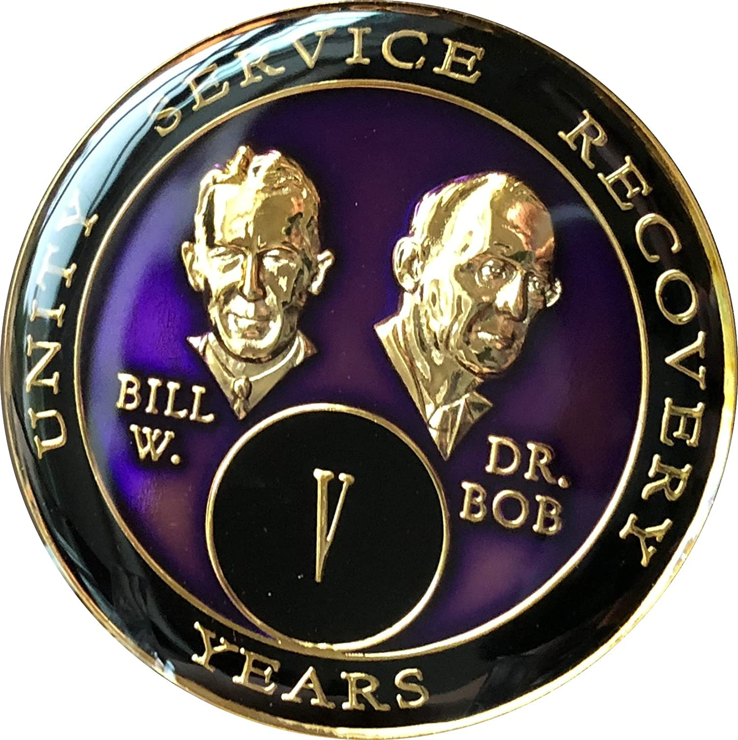 5 year AA Medallion Purple Tri-Plate Founders Bill & Bob Chip V Recovery Mint