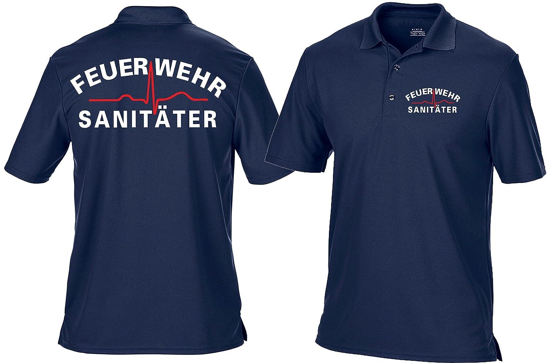 Funktions-Poloshirt navy, Feuerwehr Sanitäter weiss/rot feuer1