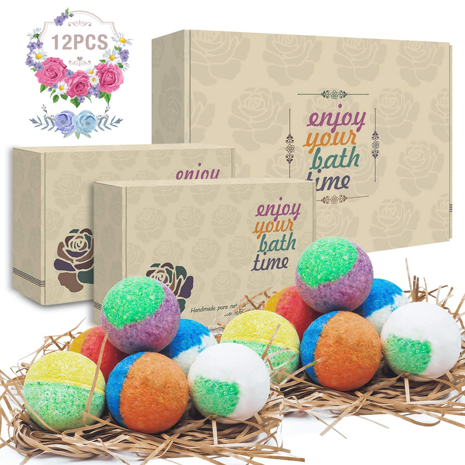 12 Organic & Natural Bath Bombs, Handmade Lush Bubble Bath Bomb Gift Set, Rich in Essential Oil, Shea Butter, Coconut Oil, Grape Seed Oil, Fizzy Spa to Moisturize Dry Skin, Perfect Gift idea For Women