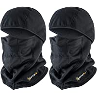 AstroAI Ski Mask Balaclava Winter Gifts for Men Women Windproof Breathable Face Mask for Cold Weather 2 Pack (Superfine Polar Fleece, Black)
