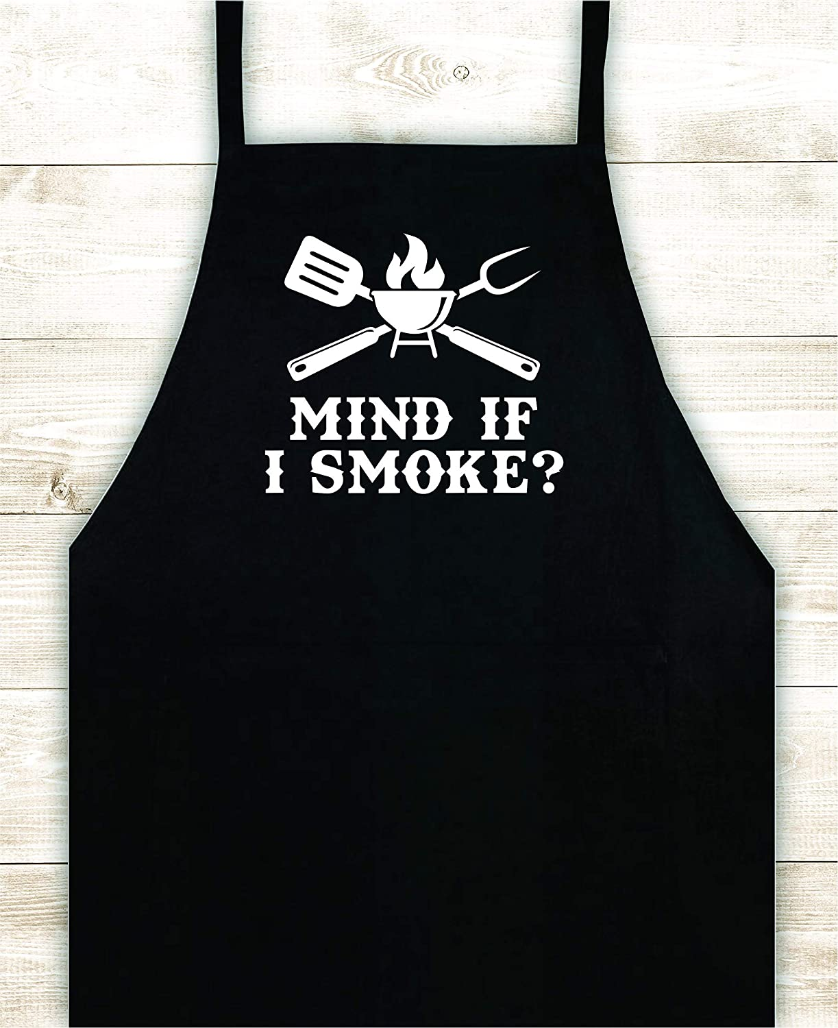 Boop Decals Mind If I Smoke Kitchen Apron Custom Design Heat Press Vinyl BBQ Cook Grill Barbeque Chef Funny Gift Cow Steak Men Pig Pork Bacon Party Girls Food Father Gift Birthday Dad