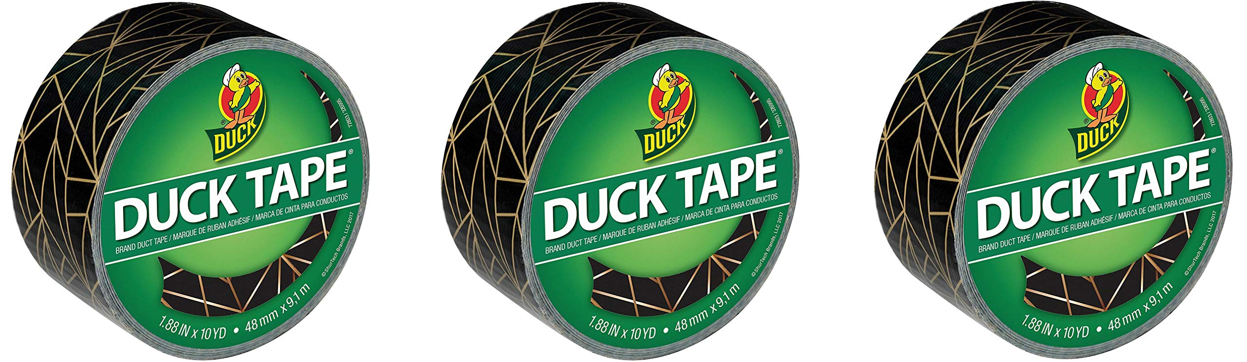 Duck Brand 241794 Printed Duct Tape, 1.88 in. x 10 yds, Gold Geometric (Тhree Pаck)