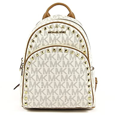 cb7c5e1eb716 Michael Michael Kors Abbey Medium Frame Out Signature Studded Backpack  Vanilla/Acorn