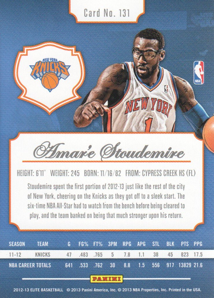 3e0f5d20e7f4 2012-13 Elite Basketball  131 Amare Stoudemire New York Knicks at Amazon s  Sports Collectibles Store