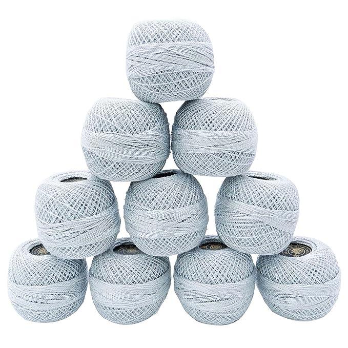 Metallic Häkelgarn Merzerisiert Garn Stickerei Baumwolle Strickhandwerk 10 Stück