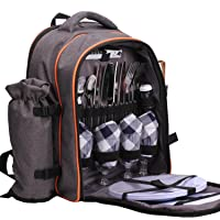 ALLCAMP Picnic Backpack for 4 with Cutlery Set and Blanket