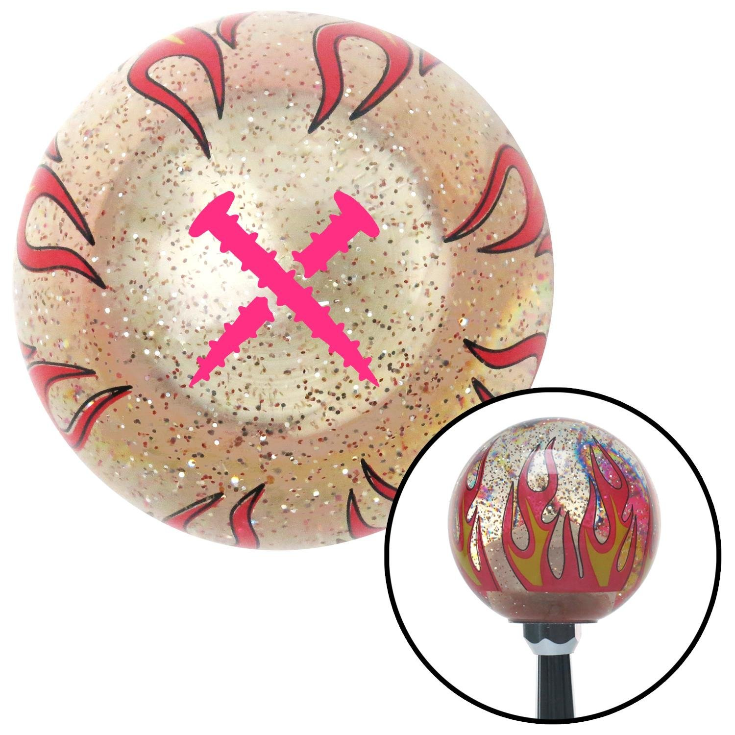 Pink Screws Clear Flame Metal Flake with M16 x 1.5 Insert American Shifter 296377 Shift Knob
