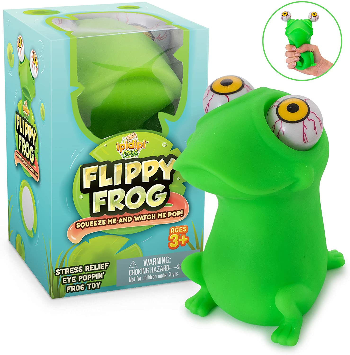 Squishy Eye Popping Flippy Frog - Large Squeeze - Stress Relief Toy - Latex Free Peepers Fidget - Anxiety Reducer Sensory Play - Great Gift for Toddlers Boys and Girls - Suitable for Autism and ADHD