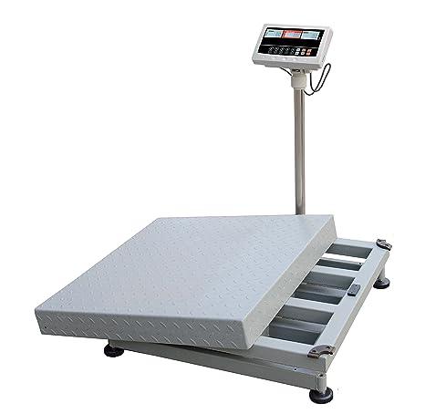 Báscula de Plataforma kg. 300 y contapezzi electrónica digital con batería recargable