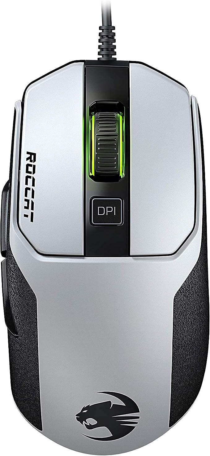 Roccat Kain 102 Aimo Rgb Gaming Maus Ohne Mauspad 8 500 Dpi Pro Optic R8 89g Leicht Titan Click Technologie Weiß Games