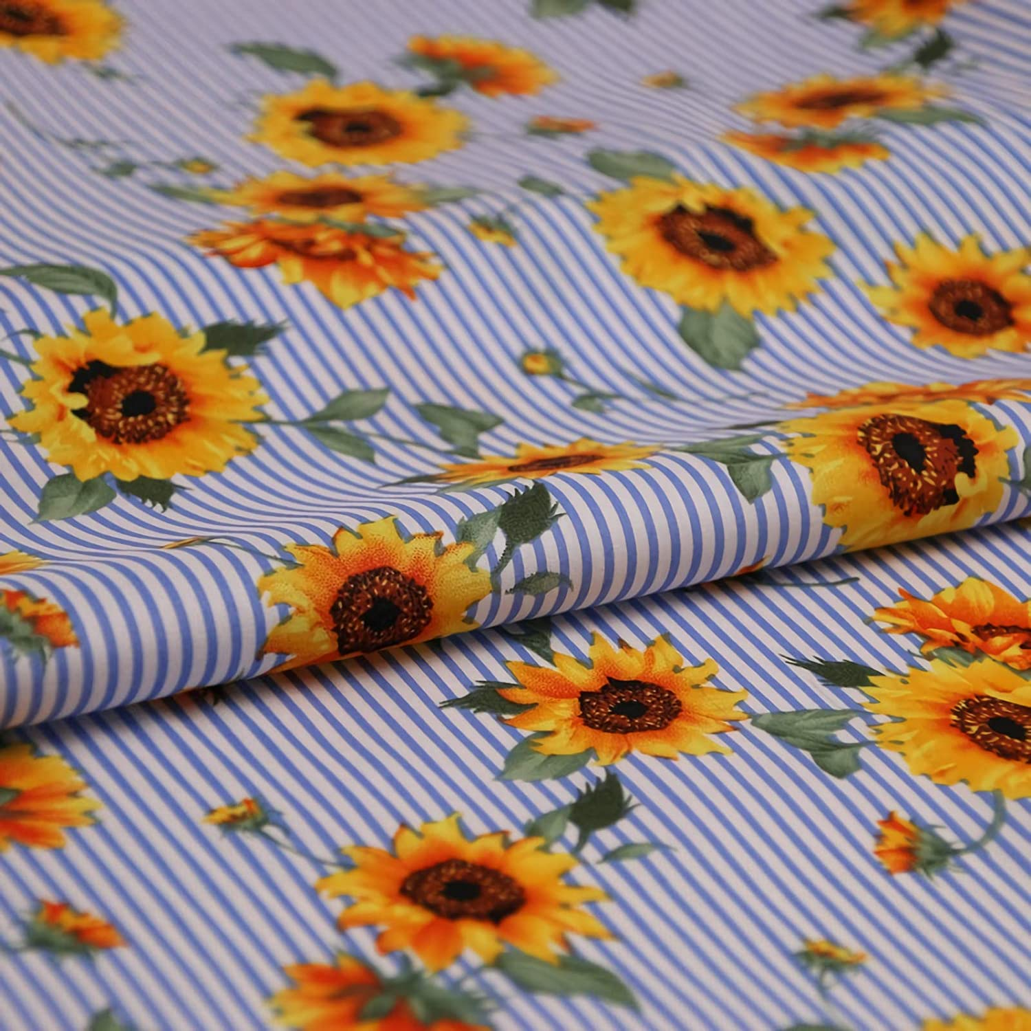 Yellow floral vintage rose PURE COTTON fabric material dress craft patchwork
