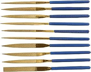 """Fatmingo 7"""" Titanium Coated Diamond Needle File Set Grit120 Soft Rubber Handles Variety Shapes Needle"""