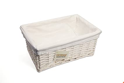 WoodLuv Medium Wicker Storage Basket With Lining, White
