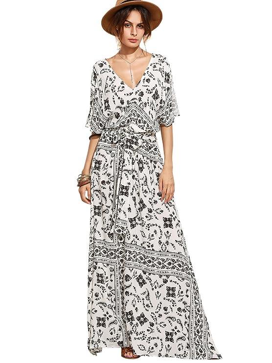 Milumia Women's Boho Split Tie-Waist Vintage Print Maxi Dress X-Large Black-1