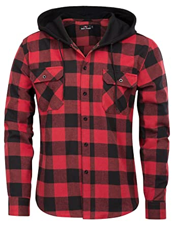 cd954370 PAUL JONES Men's Casual Soft Fit Long Sleeve Plaid Pattern Hooded Shirt Tops  Size S Red