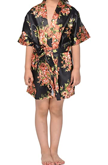 Image Unavailable. Image not available for. Color  Juntian Girls  Satin  Floral Kimono Robe Sleepwear ... 64175bffe