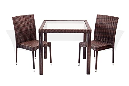 Amazon 3 pc patio resin outdoor wicker dining set square table 3 pc patio resin outdoor wicker dining set square table 315 inch w watchthetrailerfo