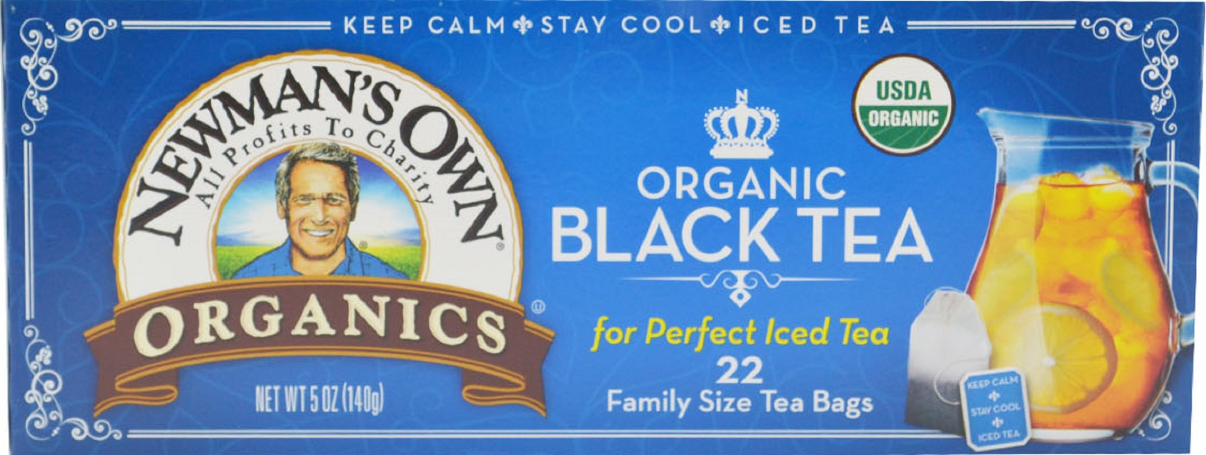 Newman's Own Organic Black Tea, 22-Count Family Size Bags, 5 oz, (Pack of 6)