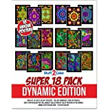 Super Pack of 18 Fuzzy Velvet Coloring Posters (Dynamic Edition) - Great for Family Time, Arts & Crafts, Travel, At Home…