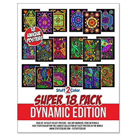 Super Pack of 18 Fuzzy Velvet Coloring Posters (Dynamic Edition)