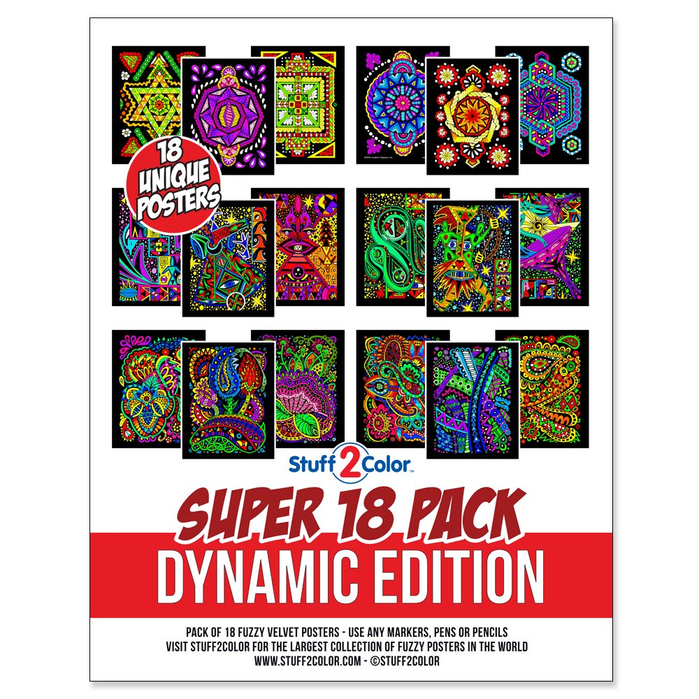 Stuff2Color Super Pack of 18 Fuzzy Velvet Coloring Posters (Dynamic Edition)