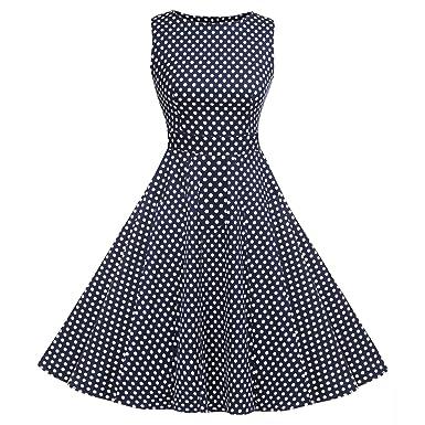 f9a9800f95a ACEVOG Damen 1950er Retro Vintage Sommerkleid Partykleid Cocktailkleid  Abendkleid Knielang Ärmllos  Amazon.de  Bekleidung