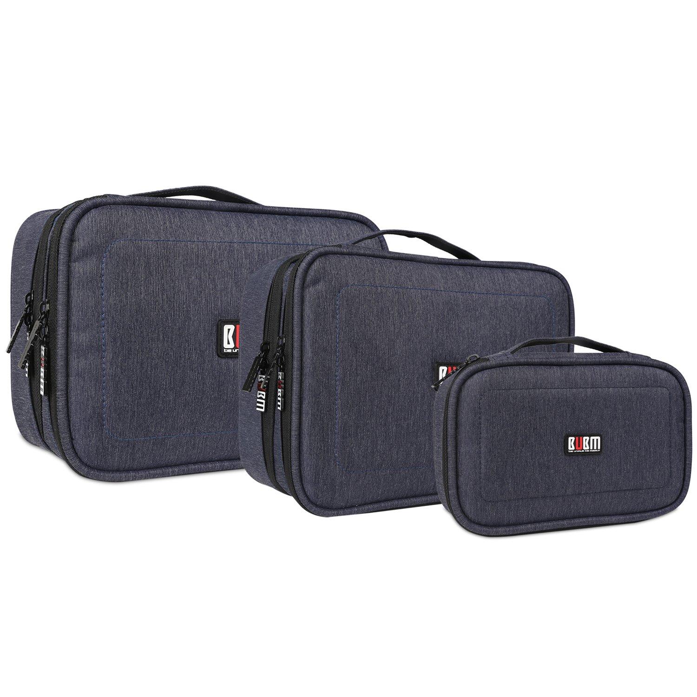 Gro/ß, Denim Grau BUBM Mehrfachfunktion Kabelorganiser Tasche Reisetasche mit Doppelschichten f/ür Elektronische Zubeh/öre wie Netzteil Maus und USB Stricks