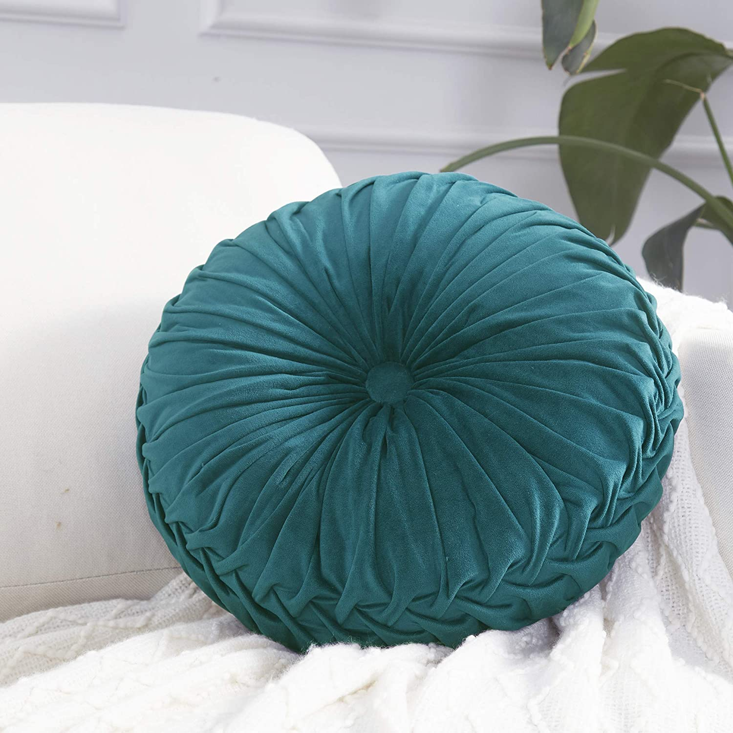 Astonishing Cassiel Home 14 5 Pintuck Round Throw Pillow Handcrafted Pumpkin Velvet Floor Pillow Gold Throw Pillows Cushion For Chair Couch Solid Dark Teal Gamerscity Chair Design For Home Gamerscityorg