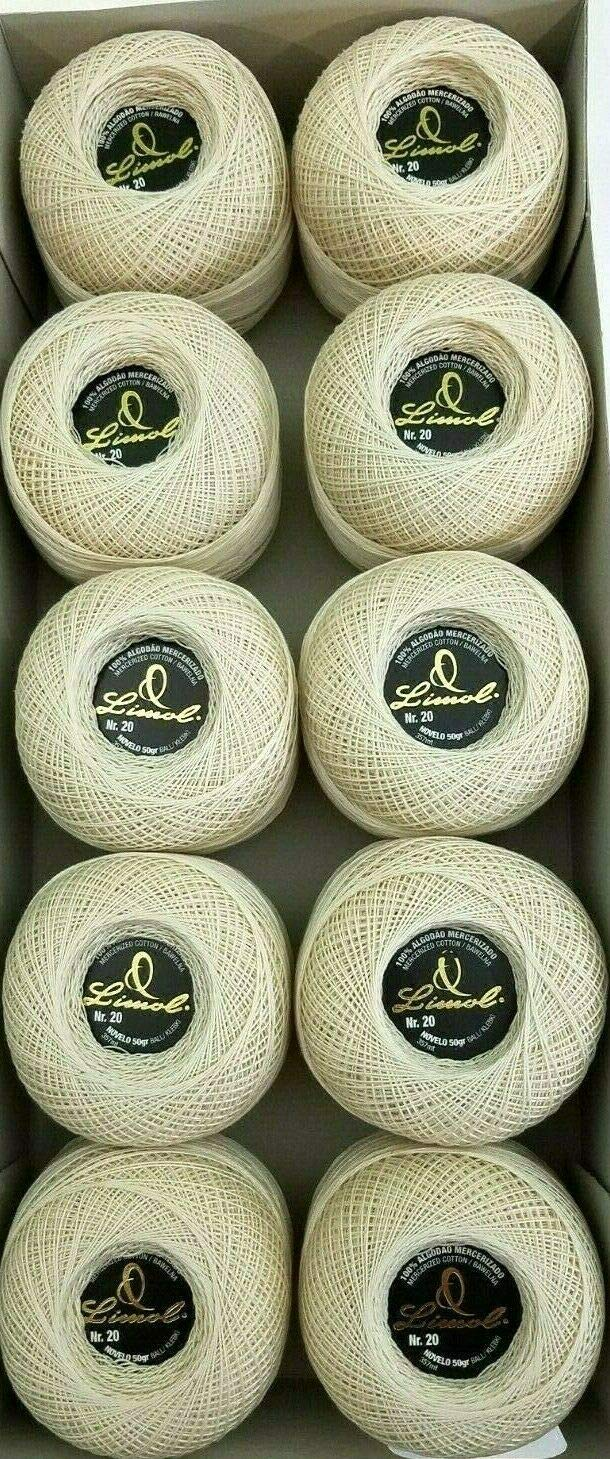 Crochet Thread/Skein. Lot of 10 Rolls Natural Beige Color Knitting Cotton Crochet fine Thread. Size 20. by Limol (Image #2)