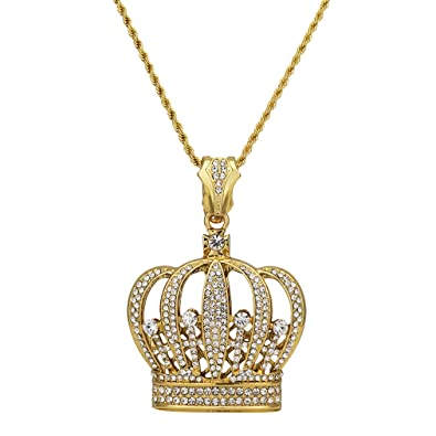 8a7719384 Bling King Gold Finish Stones Crown Pendant with Diamond Cut Rope Chain  Necklace: Amazon.co.uk: Jewellery