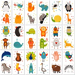 PapaKit Cute Zoo Animals 36 Temporary Fake Tattoo Set, 18 Individually Wrapped Sheets | Kids Girls & Boys Birthday Party Favor Gift Supply, Non-Toxic Food Grade Ingredients Safe Removable
