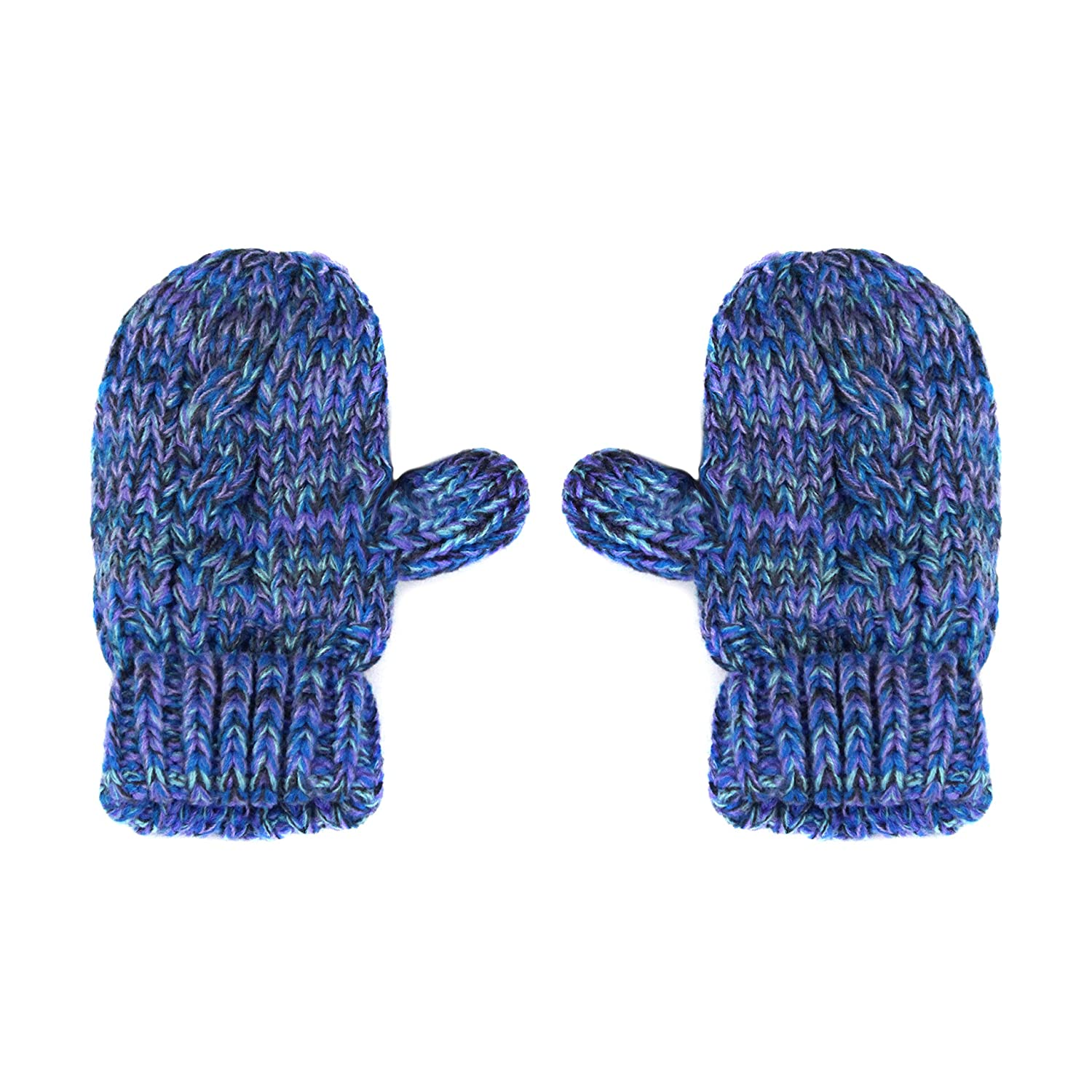 Girls Chunky Knit Marled Fleece Lined Double Fur Pom Cat Ear Stretch Cuff Beanie Bear Winter Hat and Mitten Gloves Gift Set