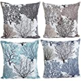 HOSL P112 4-Pack Beautiful Fashionable Design Square Decorative Throw Pillow Case Cushion Cover Tree Pattern (Set of 4)