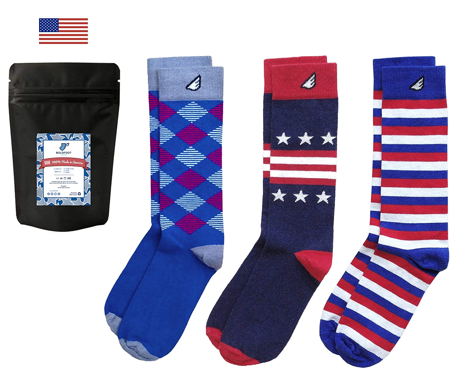 Premium Quality Pack Colorful Fun Patterned Womens Socks Made in America 3-Pack, Multi-Colored