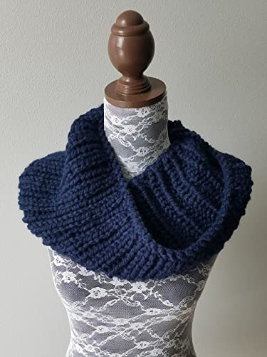 Amazon Com Knitted Cowl Infinity Scarf Handmade In Navy Blue
